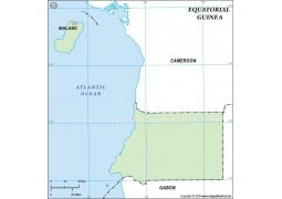 Equatorial Guinea Outline Map, Green  - Digital File