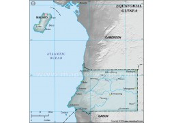Equatorial Guinea Physical Map, Gray - Digital File