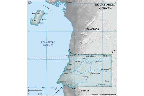 Equatorial Guinea Physical Map, Gray