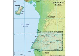 Equatorial Guinea Political Map, Dark Green  - Digital File