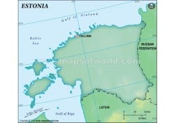 Estonia Blank Map, Dark Green