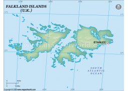 Falklands Blank Map, Dark Green  - Digital File