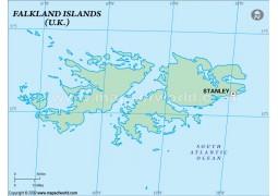 Falklands Outline Map, Green  - Digital File