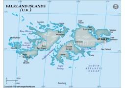 Falklands Physical Map, Dark Green  - Digital File