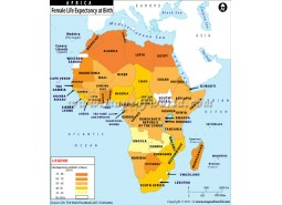 Female Life Expectancy At Birth In African Countries Map