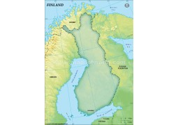 Finland Blank Map, Dark Green