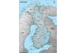 Finland Physical Map, Dark Green  - Digital File
