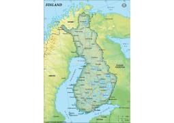 Finland Political Map, Dark Green