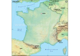 France Blank Map, Dark Green  - Digital File