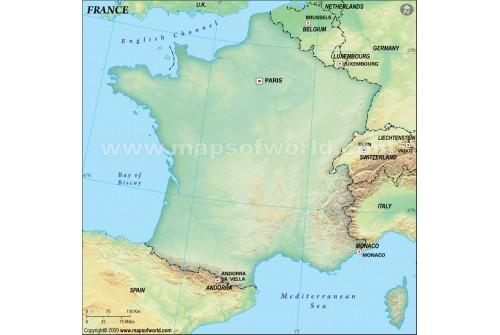 France Blank Map, Dark Green