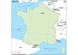 France Outline Map in Green Background - Digital File