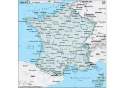 France Physical Map, Dark Green  - Digital File