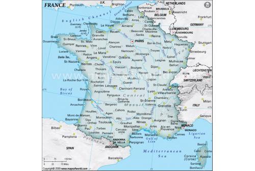 France Physical Map, Dark Green