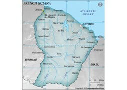 French Guiana Physical Map, Dark Green