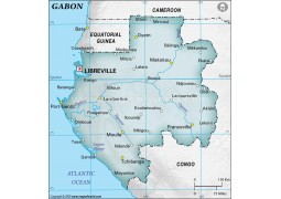 Gabon Physical Map, Dark Green