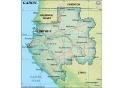 Gabon Political Map, Dark Green