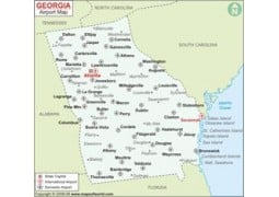 Georgia Airports Map(USA) - Digital File