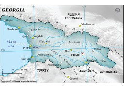 Georgia Physical Map, Dark Green  - Digital File
