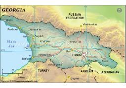 Georgia Political Map, Dark Green  - Digital File