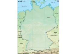 Germany Blank Map, Dark Green  - Digital File