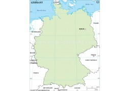 Germany Outline Map, Green