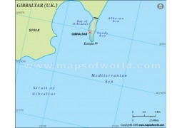 Gibraltar Blank Map in Dark Green Background