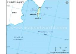 Gibraltar Outline Map in Green Color - Digital File