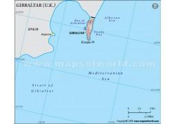 Gibraltar Political Map in Gray Background - Digital File