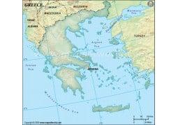 Greece Blank Map in Dark Green Background