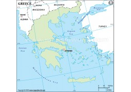 Greece Outline Map in Green Color