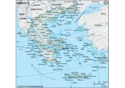Greece Physical Map with Cities in Gray Background - Digital File