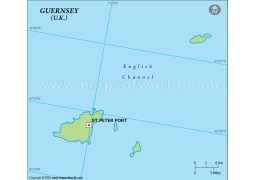 Guernsey Outline Map in Green Color