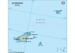 Guernsey Physical Map in Gray Color - Digital File