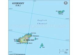 Guernsey Political Map in Dark Green Background - Digital File