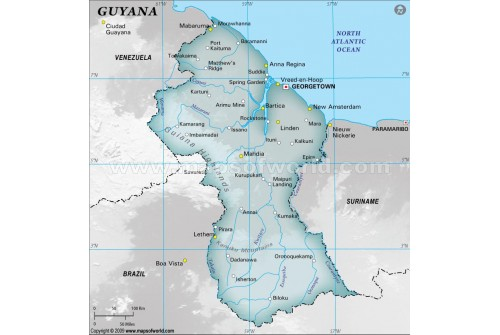 Buy Guyana Physical Map With Cities In Gray Color - Guyana physical map