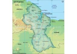 Guyana Political Map, Dark Green
