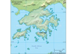 Hong Kong Blank Map in Dark Green Background - Digital File