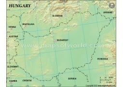 Hungary Blank Map in Green Background - Digital File