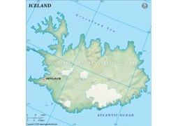 Iceland Blank Map, Dark Green  - Digital File