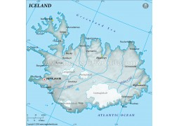 Iceland Physical Map in Gray Color - Digital File