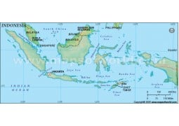 Indonesia Blank Map in Dark Green Background - Digital File