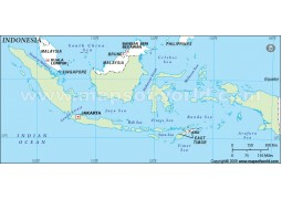 Indonesia Outline Map, Green  - Digital File
