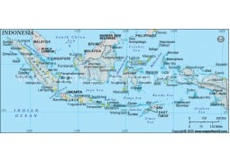 Indonesia Physical Map with Cities in Gray Background - Digital File
