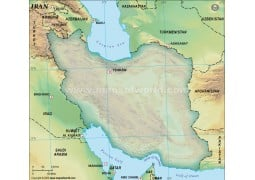 Iran Blank Map, Dark Green  - Digital File