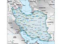 Iran Physical Map with Cities in Gray Background - Digital File