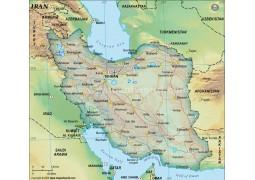 Iran Political Map, Dark Green  - Digital File