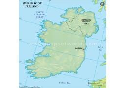 Ireland Blank Map in Dark Green Background - Digital File