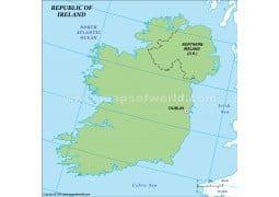 Ireland Outline Map in Green Color - Digital File