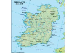 Ireland Political Map in Dark Green Background - Digital File