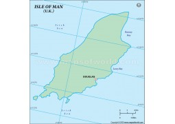 Isle of Man (Mann) Outline Map in Green Color - Digital File